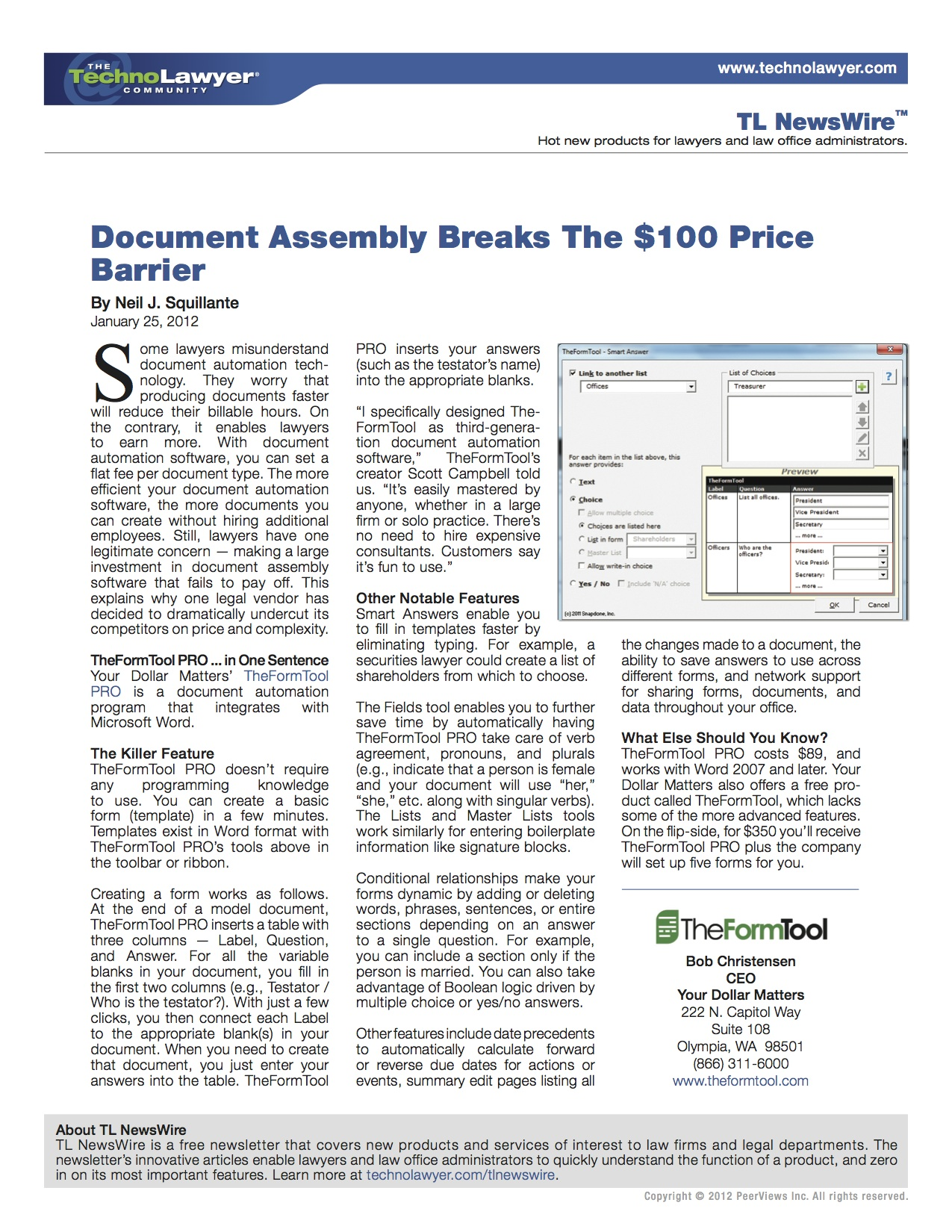 TheFormTool TechnoLawyer Document Assembly Breaks The Price - Legal document assembly